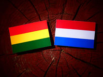 Bolivian flag with Dutch flag on a tree stump isolated Stock Photos