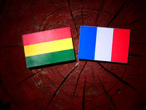 Bolivian flag with French flag on a tree stump isolated Royalty Free Stock Photos