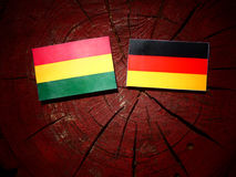 Bolivian flag with German flag on a tree stump  Stock Photo
