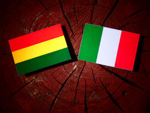 Bolivian flag with Italian flag on a tree stump isolated Stock Image