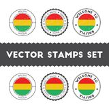 Bolivian flag rubber stamps set. National flags grunge stamps. Country round badges collection Royalty Free Stock Images