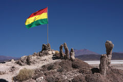 Bolivian Flag on Stromatolite island Stock Photography