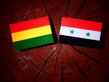 Bolivian flag with Syrian flag on a tree stump isolated Royalty Free Stock Photos