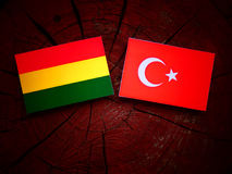 Bolivian flag with Turkish flag on a tree stump  Stock Images