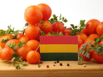 Bolivian flag on a wooden panel with tomatoes isolated on a whit Stock Image