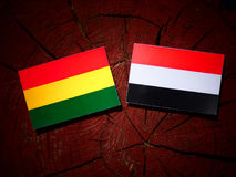 Bolivian flag with Yemeni flag on a tree stump  Stock Images