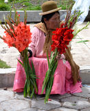 Bolivian Flower Seller Royalty Free Stock Images