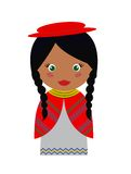 Bolivian Girl. Vector Illustration of Bolivian Girl in Native Clothing Stock Photo