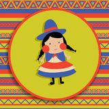Bolivian girl. Vector illustration, bolivian girl in traditional cholita costume, patterned background Stock Photography