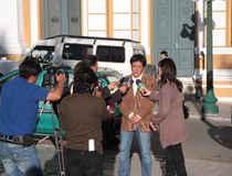 Bolivian Government interview. Bolivian politician gives an interview to reporters in front of Government Palace of Bolivia, La Paz Stock Image