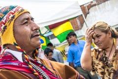 Bolivian immigrants celebrate Ekeko, God of abundance, in Brazil. Sao Paulo, Brazil, January 24, 2008. Bolivian immigrants during the Alasitas, a festivity in Royalty Free Stock Image