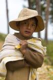 Bolivian kid standing on Isla del Sol near Copacabana, Bolivia Stock Images