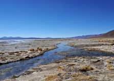Bolivian Landscape. Bolivia, Potosi Departmant, Sur Lipez Province, Eduardo Avaroa Andean Fauna National Reserve, View of the Laguna Salada near hot springs Stock Image