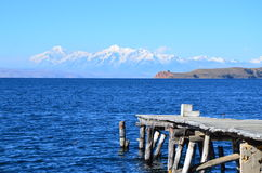 Bolivian Landscape. The view of the Andes Mountains from Isla del Sol on Lake Titicaca, Bolivia Royalty Free Stock Image