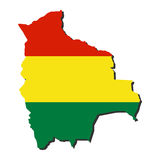 Bolivian map flag. Map of Bolivia and Bolivian flag illustration Royalty Free Stock Images