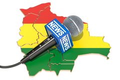 Bolivian News concept, microphone news on the map of Bolivia. 3D. Bolivian News concept, microphone news on the map of Bolivia Royalty Free Stock Photo