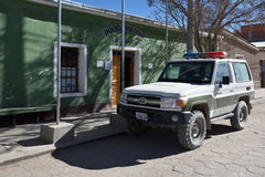 Bolivian Police office and car. On street of Uyuni, Bolivia on August 28, 2016. Uyuni is a city in the southwest of Bolivia, South America Stock Images