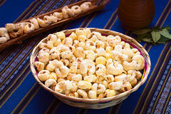 Bolivian Snack Pasancalla (Sweetened Popped White Corn) Stock Photo