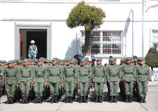 Bolivian soldiers standing at attention Royalty Free Stock Images