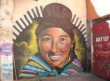 Bolivian street art. Bolivian graffiti street art in La Paz, Bolivia, South America Stock Images