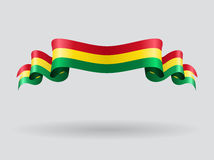 Bolivian wavy flag. Vector illustration. Royalty Free Stock Photos