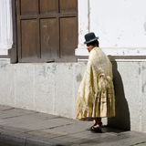 Bolivian woman. A Pacena, a Bolivian woman from La Paz with traditional dress Stock Photo