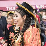 Bolivian woman at carnival in Zurich stock image