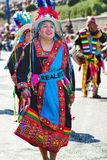 Bolivian woman dancing with tipycal costume in carnival Stock Photography