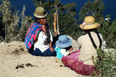 Bolivian women. Are talking on the lake titicaca Stock Photography
