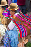 Bolivian  women in traditional clothes on the street Royalty Free Stock Photo