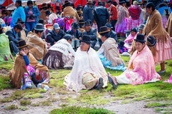 Bolivian  women in traditional clothes on the street Royalty Free Stock Photos