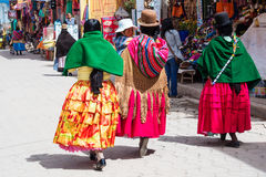 Bolivian  women in traditional clothes on the street Royalty Free Stock Photography