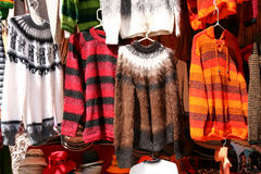 Bolivian wool-wear. Bolivian alpaca wool-wear on display in a shop Royalty Free Stock Image