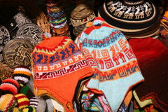 Bolivian wool-wear. Bolivian alpaca wool-wear on display in a shop Stock Photography