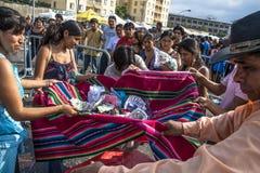 Bolivianska invandrare firar Ekeko, gud av överflöd, i Brasilien Royaltyfri Bild