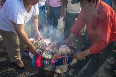 Bolivianska invandrare firar Ekeko, gud av överflöd, i Brasilien Fotografering för Bildbyråer