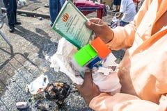 Bolivianska invandrare firar Ekeko, gud av överflöd, i Brasilien Royaltyfria Bilder
