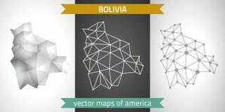 Bolivien-Satz Grau und polygonale Karten des Silbermosaiks 3d Grafische Vektordreieckgeometrieentwurfs-Schattenperspektive zeichn Stockfotografie