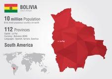 Boliwia światowa mapa z piksla diamentu teksturą Zdjęcie Royalty Free