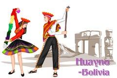 Boliwijska para wykonuje Huayno tana Boliwia Zdjęcia Stock