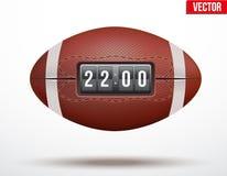 Boll för amerikansk fotboll med ställningen av leken Royaltyfri Foto