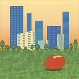 Boll för amerikansk fotboll på cityscape illustration vektor illustrationer