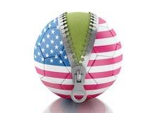 boll för fotboll 3d med flaggan av Förenta staterna Fotografering för Bildbyråer