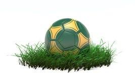 boll för fotboll 3D på gräs Royaltyfria Foton