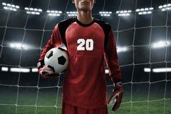 Boll för fotboll för fotbollmålvakthåll Royaltyfri Bild