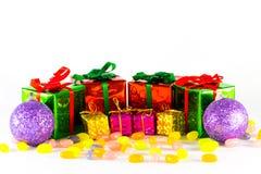 Boll för gåvaaskar och jul Arkivbild