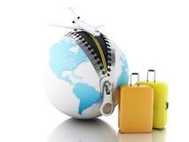 boll för jordklot 3d med blixtlåset, flygplanet och resväskor Royaltyfri Fotografi