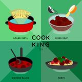 Boll för kött för spagetti för KOCKKONUNG SEX royaltyfri illustrationer