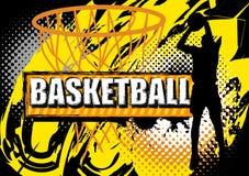 Boll för skytte för basketspelare på grungebakgrund Arkivbilder