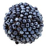 Boll från många sydde svarta glass pärlor tätt upp Arkivbilder